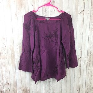 J. Jill Purple Floral Blouse Size Medium